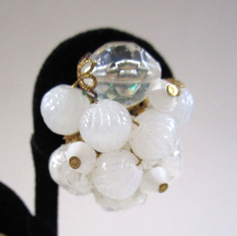 German-Made Frosted White Cluster Bead Earrings