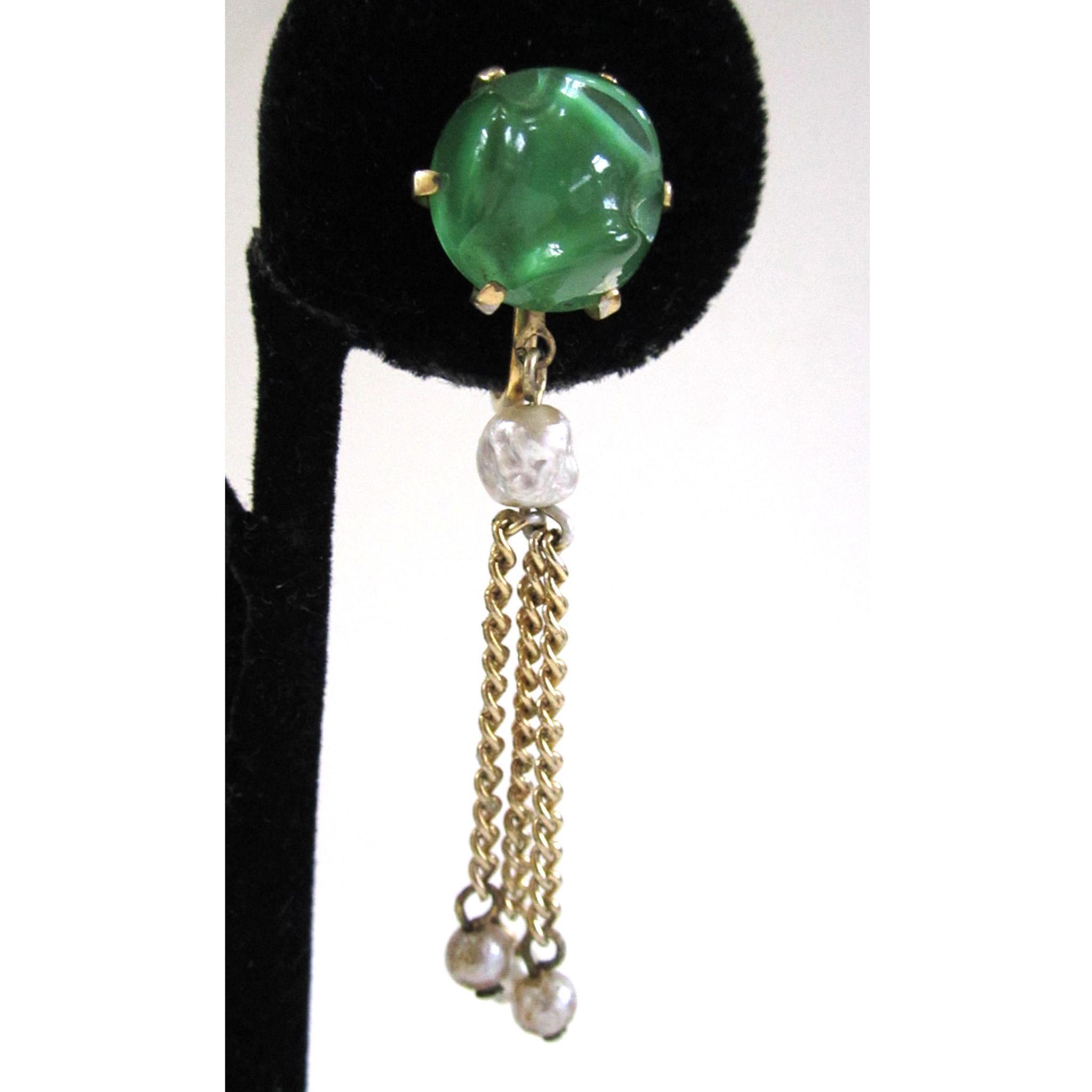 Gold-Tone Green Molded Glass and Faux Pearl Earrings