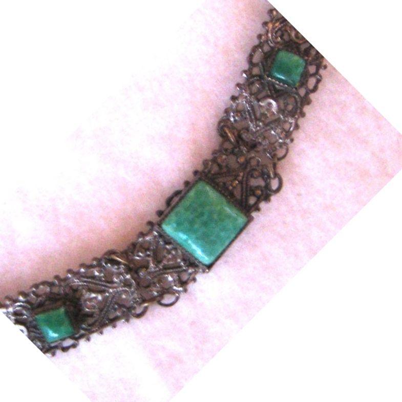 Peking Glass Silver Filigree Bracelet