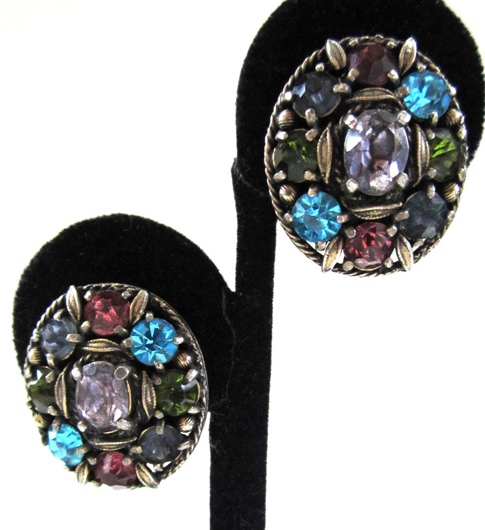 Unsigned Pastel Rhinestone Oval Earrings