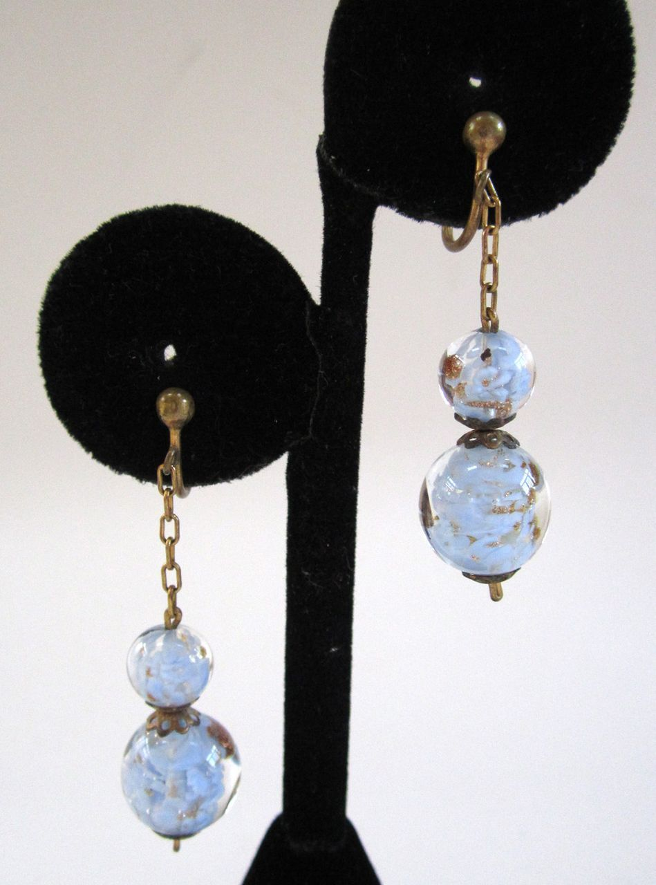 Italian-made Blue Glass Earrings