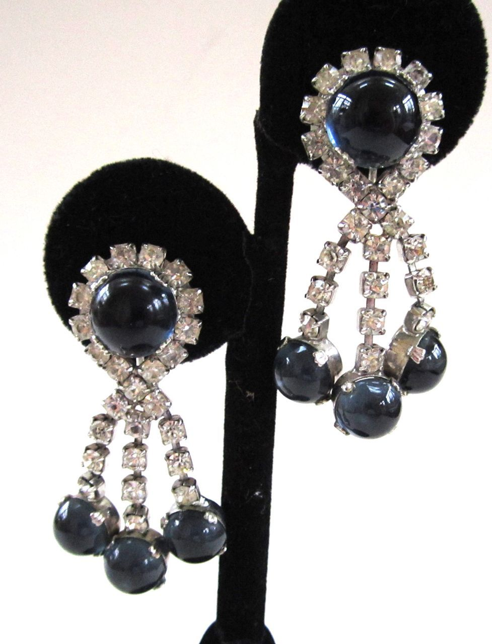 Clear Rhinestone and Blue Glass Cabochon Earrings