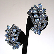 Blue Rhinestone Fan Earrings