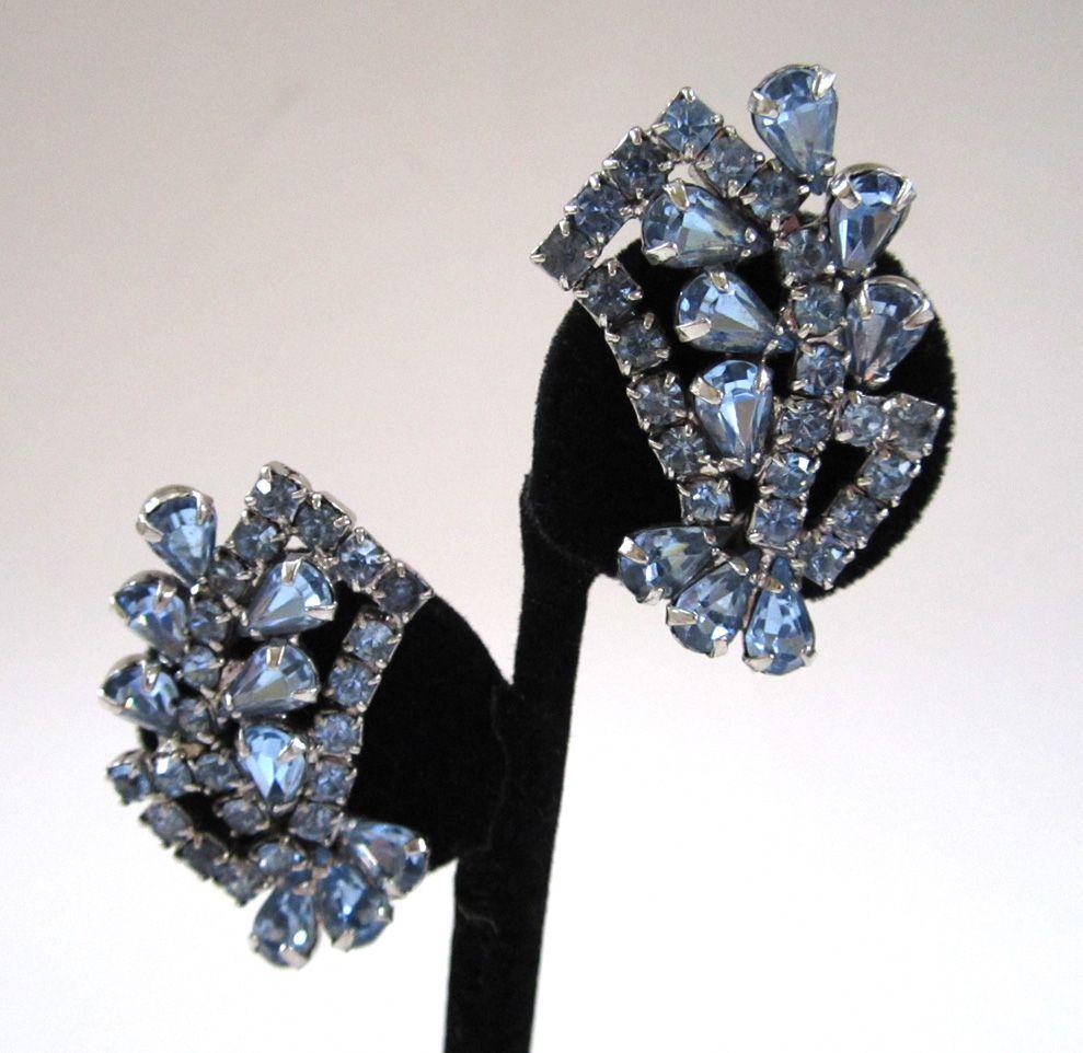 Blue Rhinestone Fan Earrings