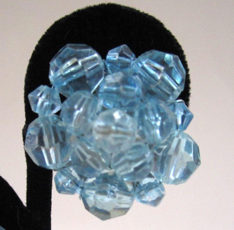 German-Made Pale Blue Plastic Faceted Bead Earrings
