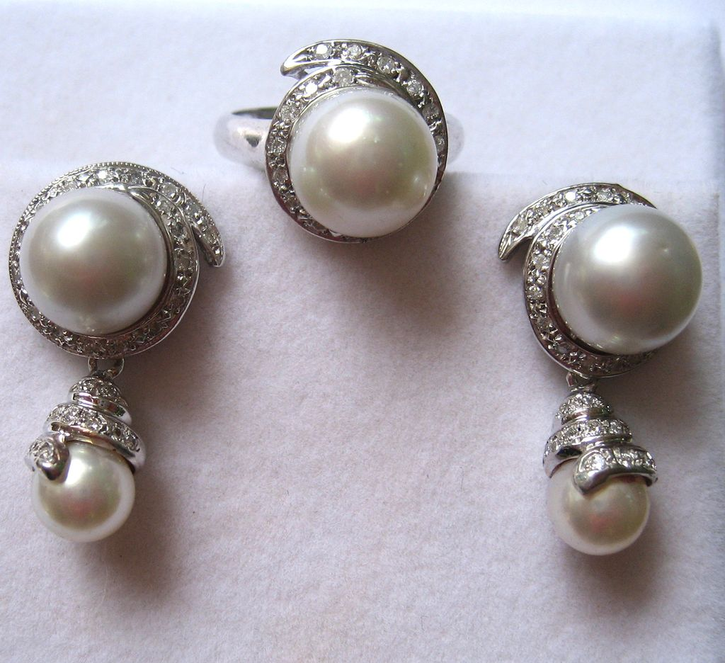 Mid 20th Century 18K White Gold Cultured Pearl and Diamond Earrings and Ring Set - NEW REDUCTION!