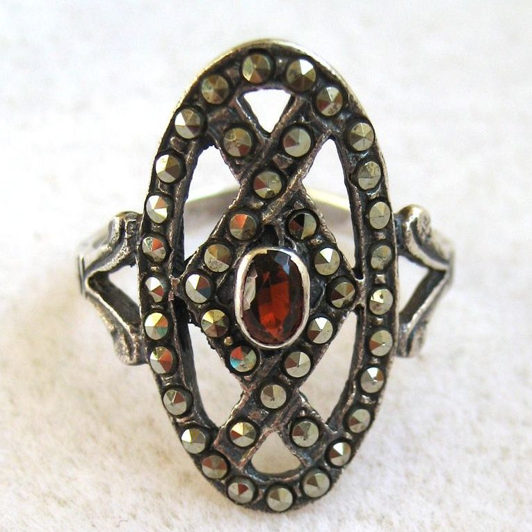 Sterling Silver Garnet Marcasite Ring