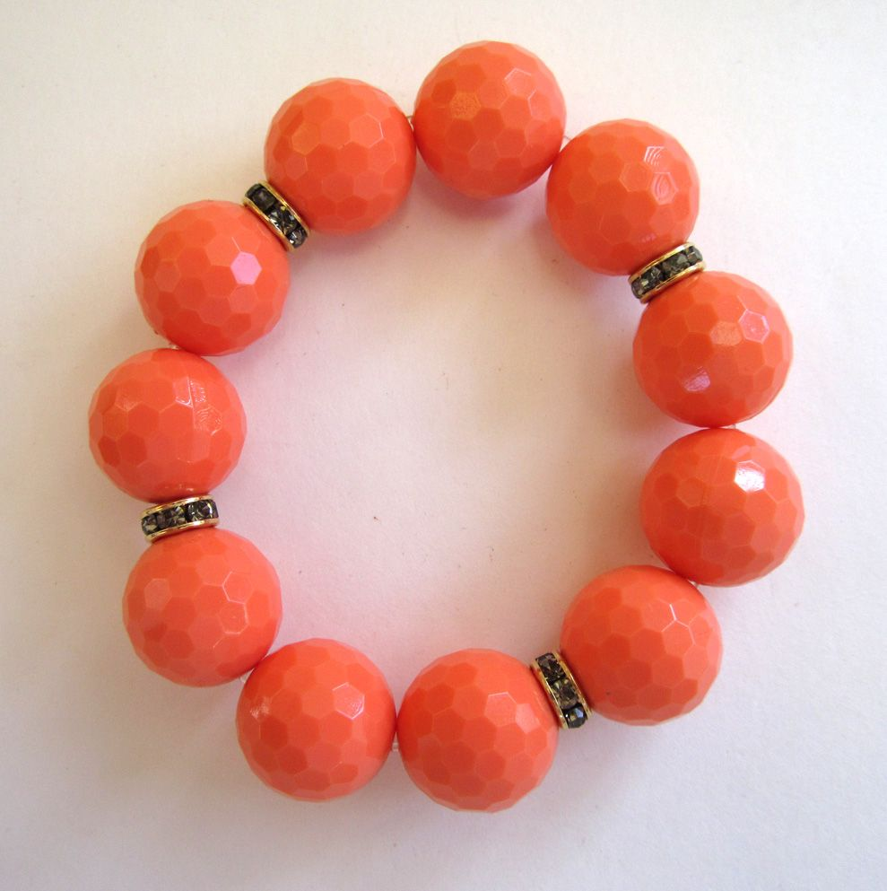Large Orange Plastic Bead and Rhinestone Stretch Bracelet