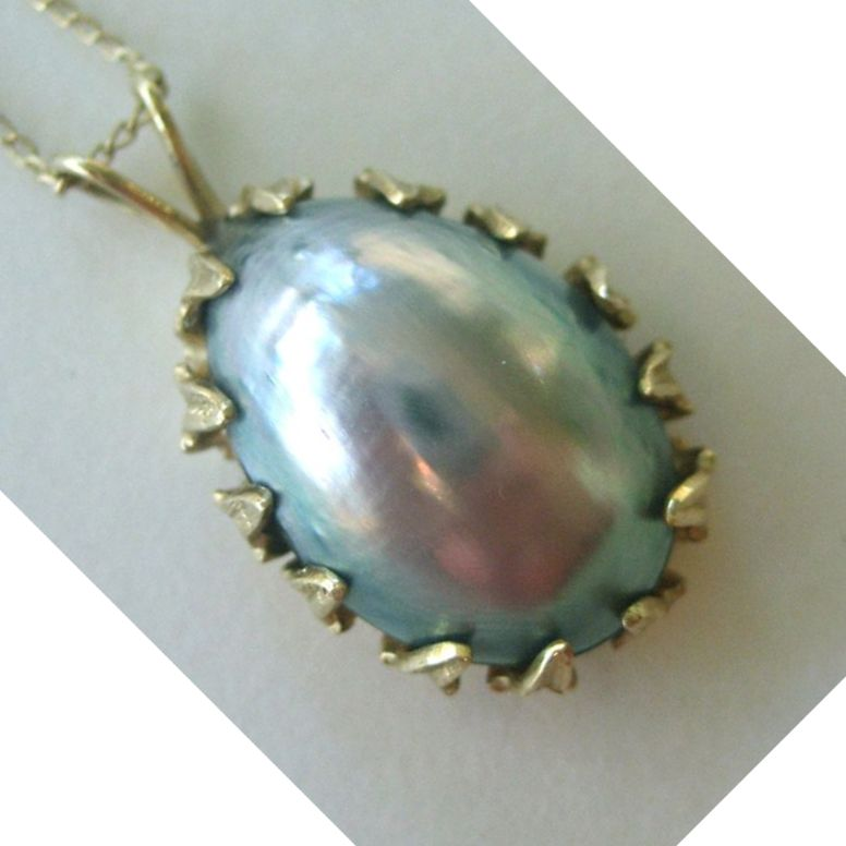14k yellow gold bluegrey mabe pearl pendantnecklace sold ruby lane mozeypictures Gallery