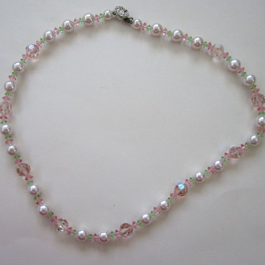 Pink, Green and Faux Pearl Crystal Necklace with Rhinestone Clasp
