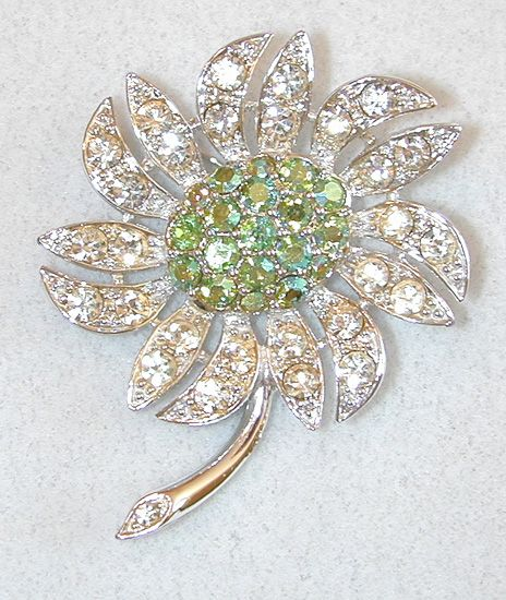 Sarah Coventry Green Aurora Borealis Floral Brooch/Pin