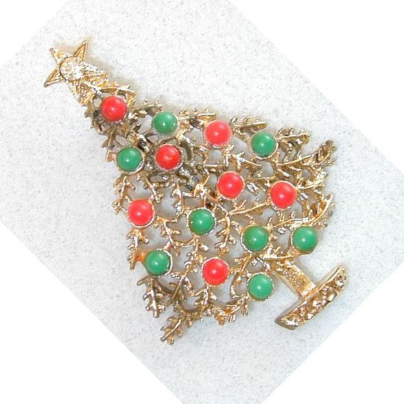 Coral and Green Gold-Tone Christmas Tree Brooch/Pin
