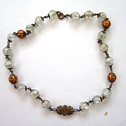 Circa 1900 Gilt Crackled Crystal and Enameled Bead Necklace