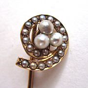 14K Gold Swirled Seed Pearl Stick Pin
