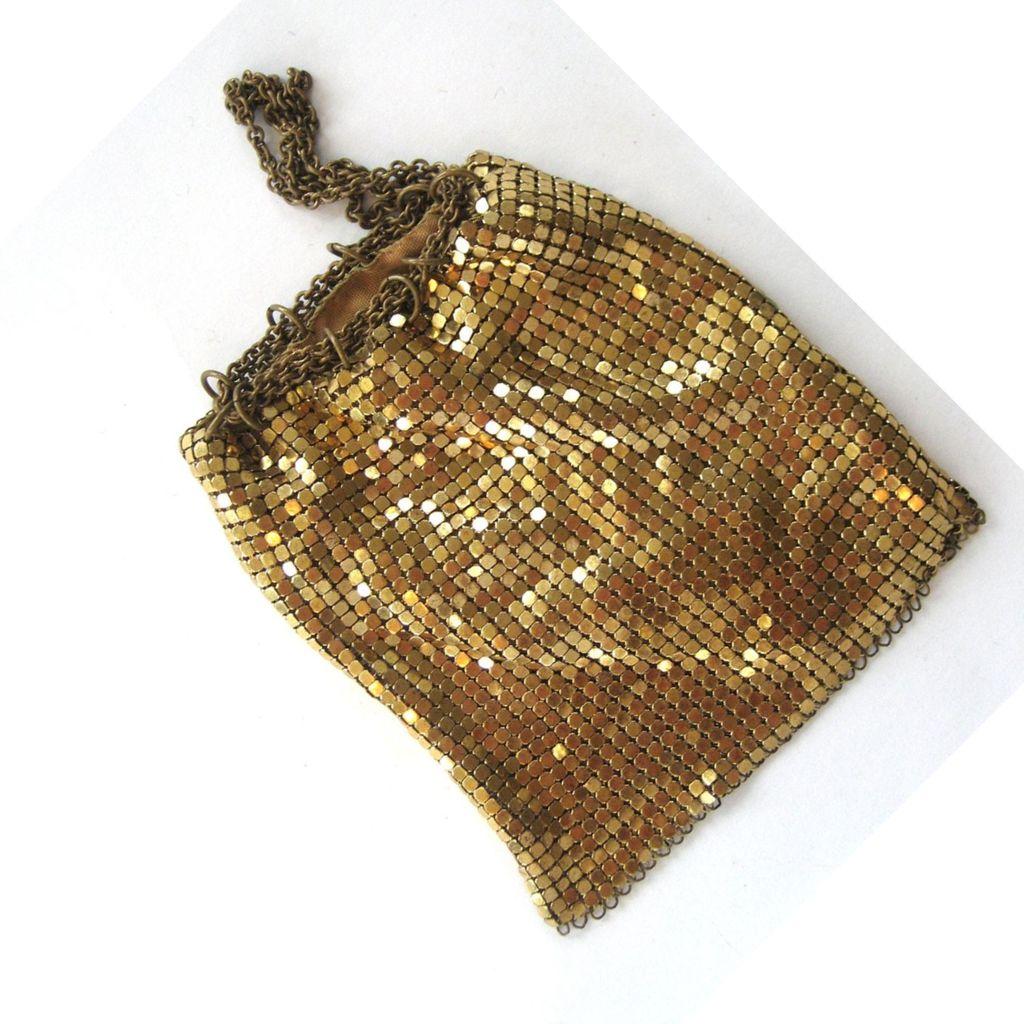 Whiting and Davis Gold-tone Mesh Drawstring Bag