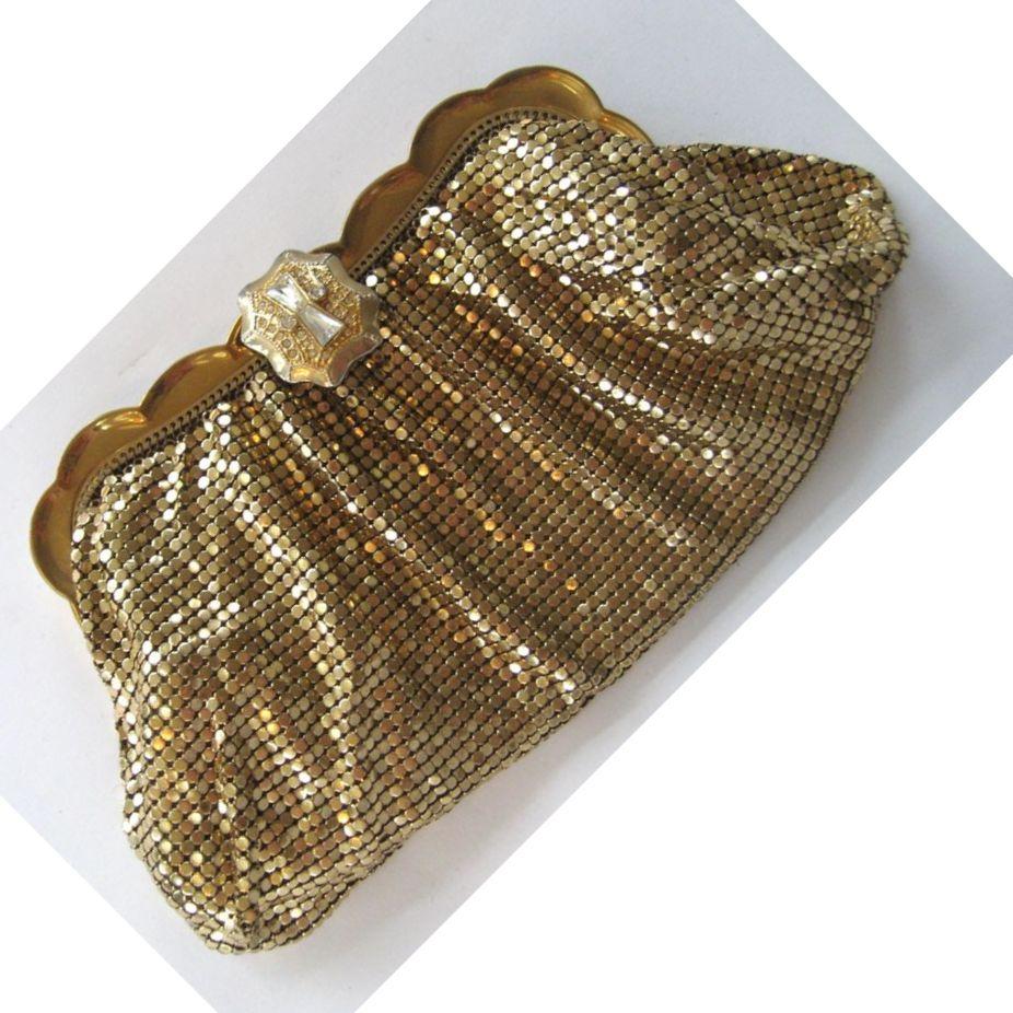 Whiting and Davis Gold-tone Mesh Clutch/Handbag with Rhinestone Clasp