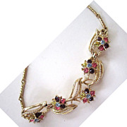 Coro Floral Pastel Rhinestone Gold-Tone Choker/Necklace
