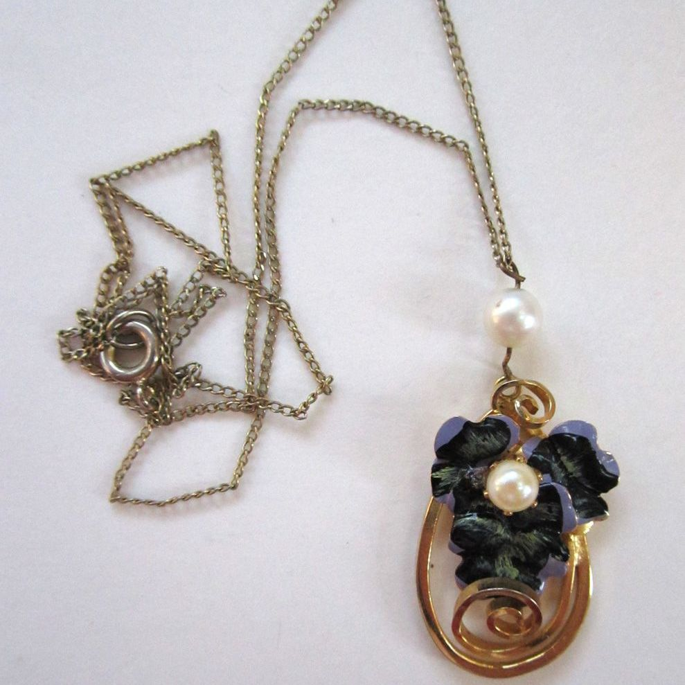 Floral Enamel Cultured Pearl Pansy Pendant