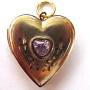 1/20 14K Gold-Filled Pink Stone Locket
