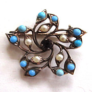 Gold-Tone Faux Pearl, Turquoise and Purple Rhinestone Brooch/Pin