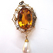 Filigree Glass Gold Rhinestone with Faux Pearl Drop Pendant