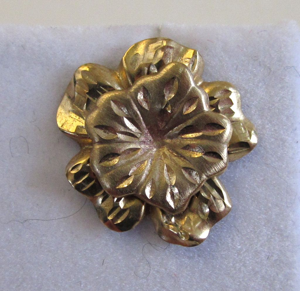 14K Yellow Gold Double Floral Earrings