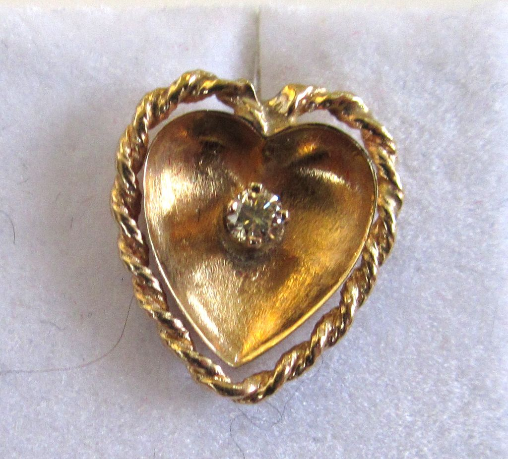 18K Yellow Gold and Yellow Diamond Heart Earrings