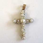 14K Victorian Seed Pearl and Horsehair Cross in Original Box