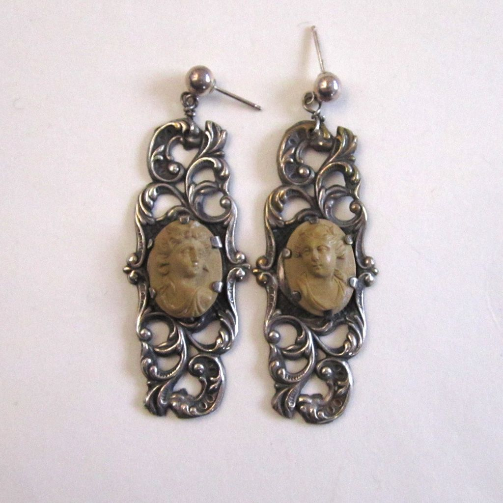 Sterling Silver Lava Cameo Earrings