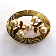 Gold-Filled Cultured Pearl Sunburst Brooch/Pin