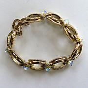 Coro Gold-Tone and Aurora-Borealis Bracelet