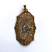 12K Yellow Gold-Filled Filigree Diamond Pendant