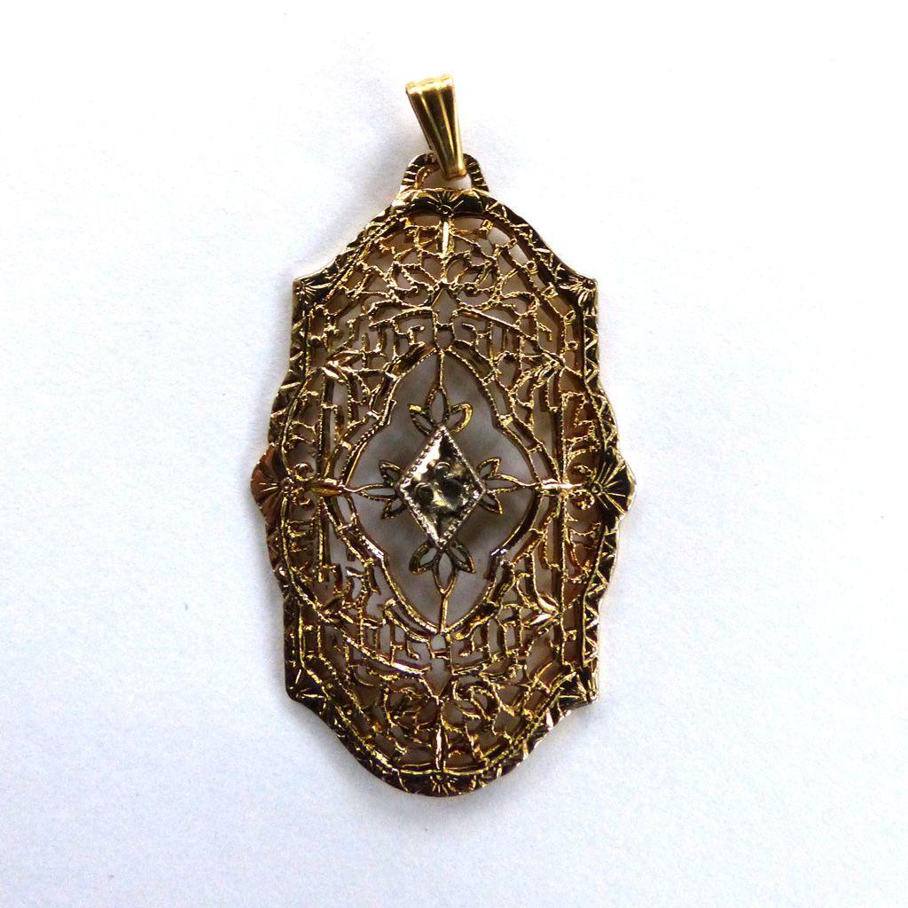 12K Yellow Gold-Filled Filigree Diamond Pendant