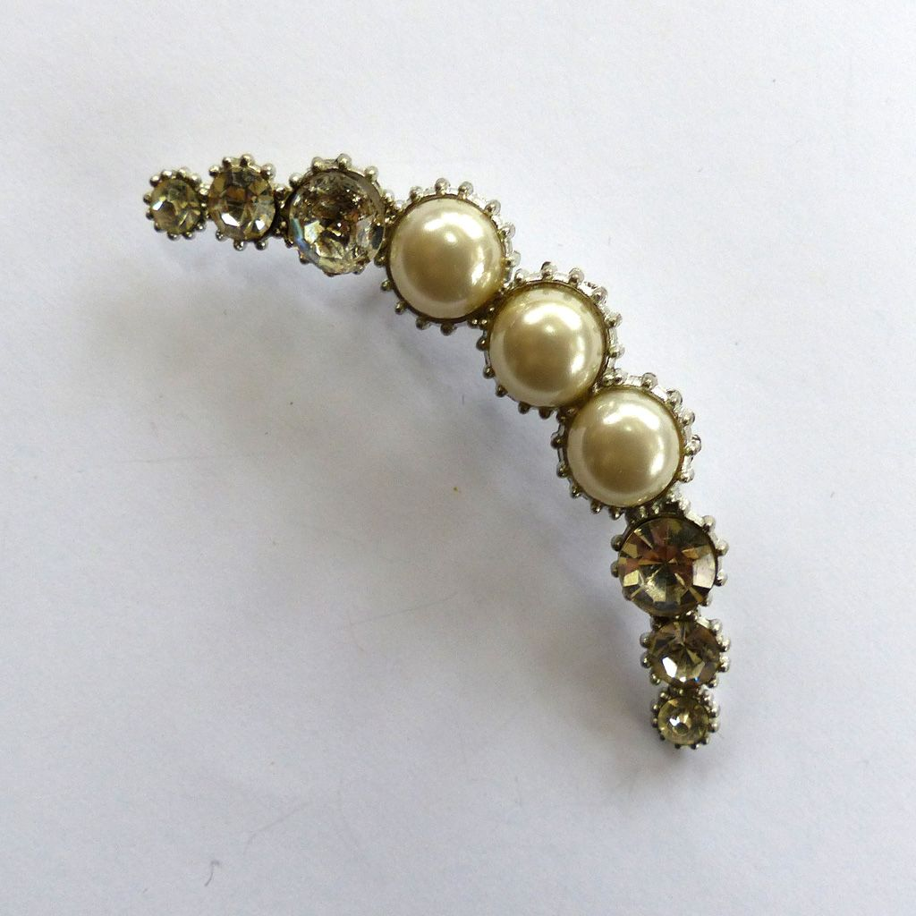 Silver-Tone Crescent Moon Pearl and Rhinestone Brooch/Pin
