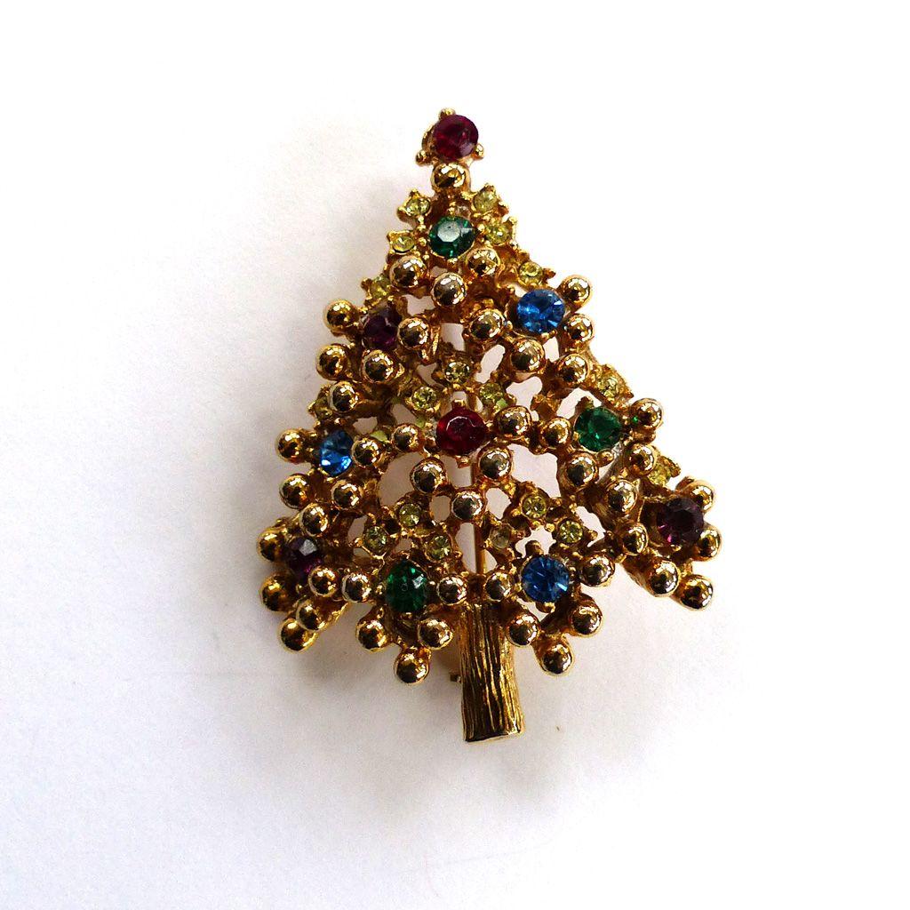 Gold-Tone Rhinestone Christmas Tree Brooch/Pin