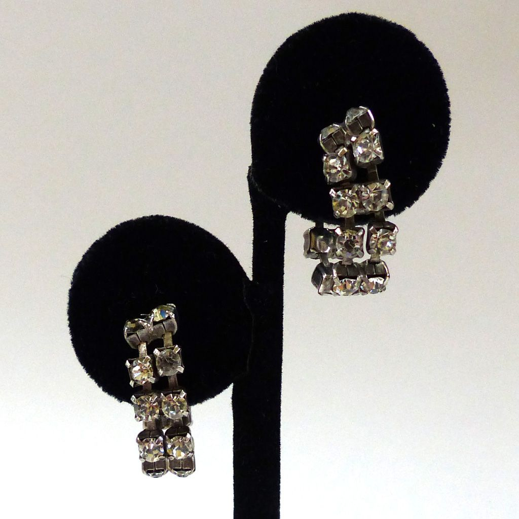Rhinestone Silver-Tone Hoop Earrings