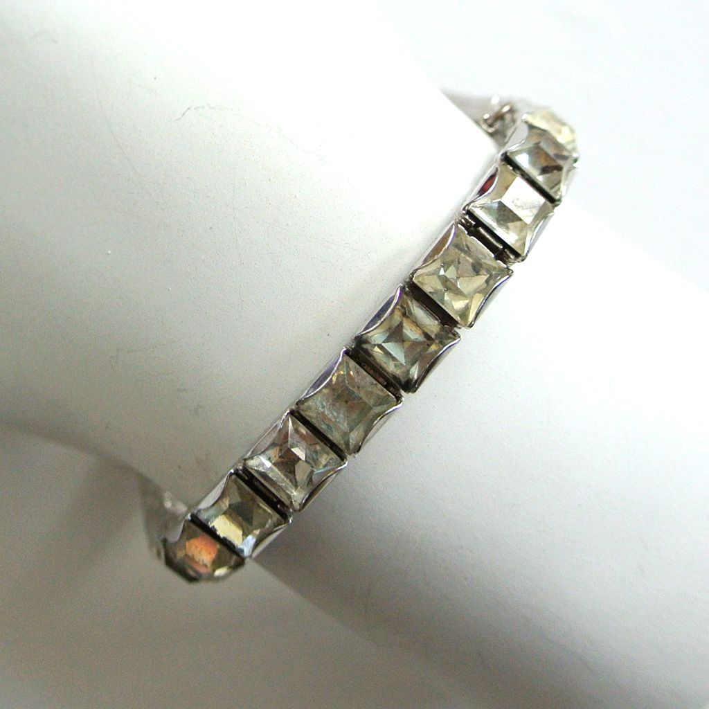Art Deco Rhinestone Line Bracelet