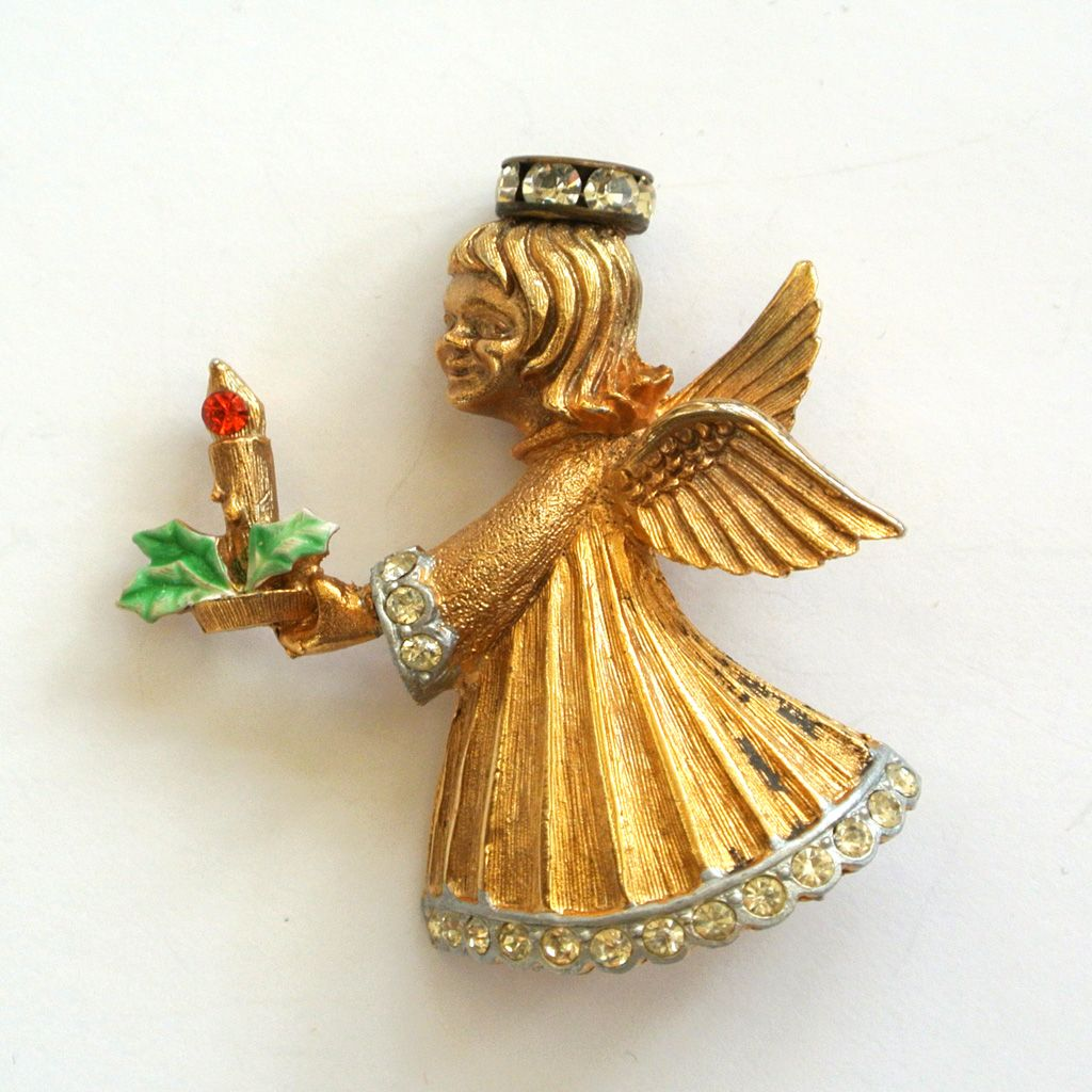 J.J. Gold-Tone Angel Christmas Brooch/Pin