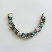 Pale Aqua Enamel and Cabochon Confetti Bracelet