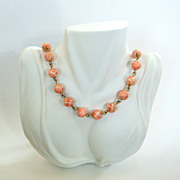 Plastic Pink and White Swirled Bead Necklace