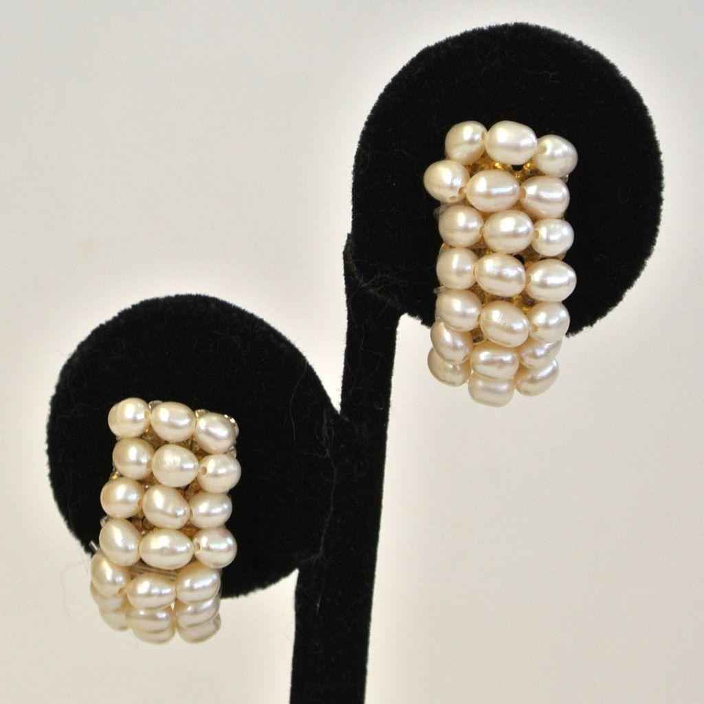 Freshwater Pearl Silver-Tone Half-Hoop Pierced Earrings