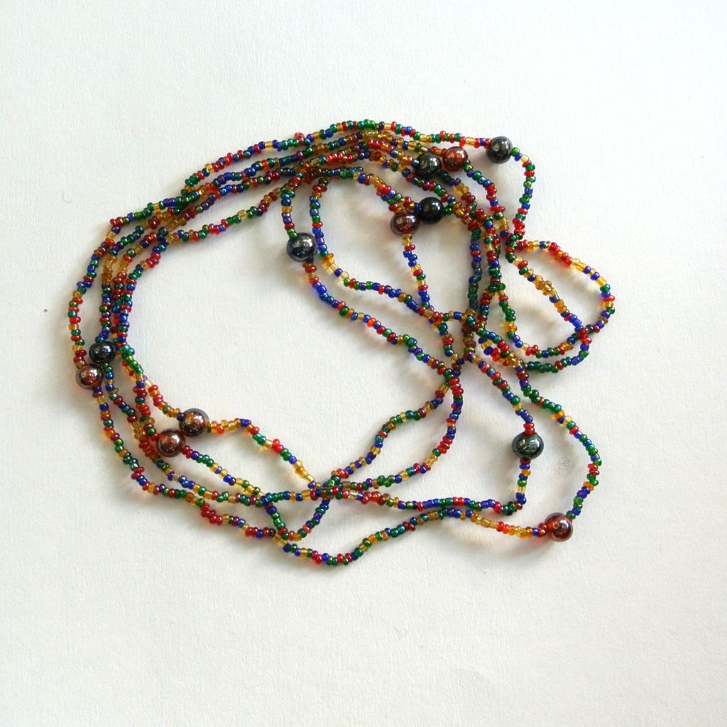 Metallic multi-colored Seed Bead Necklace
