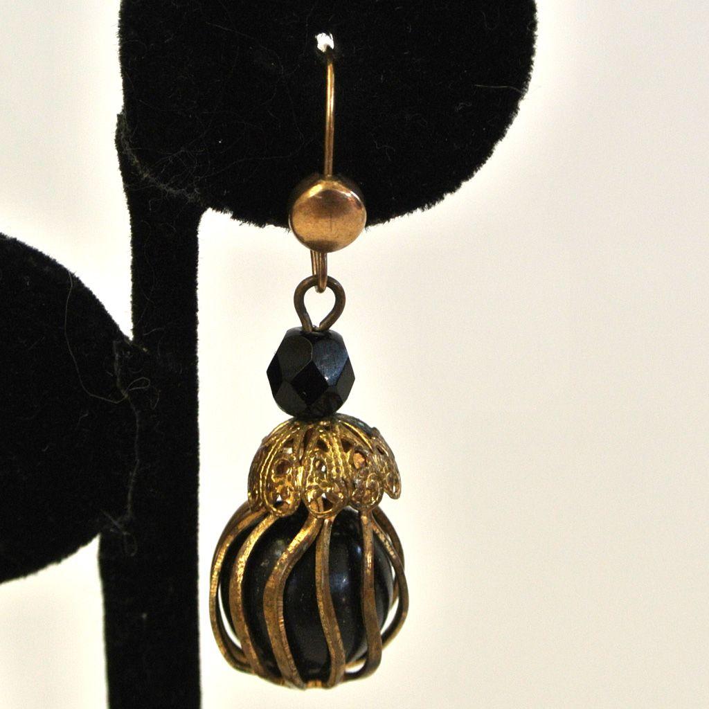 Black Caged Ball Earrings