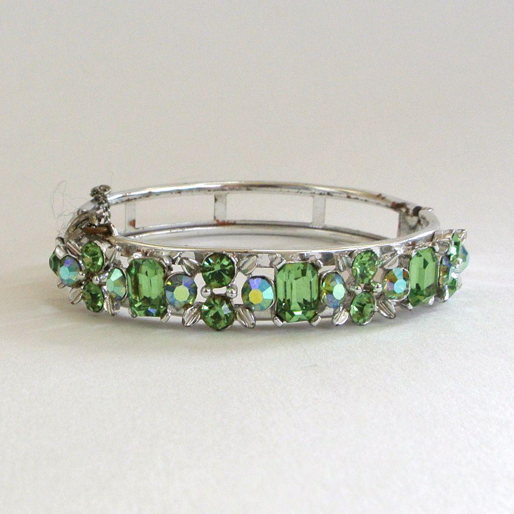 Lisner Green Rhinestone Bangle Bracelet
