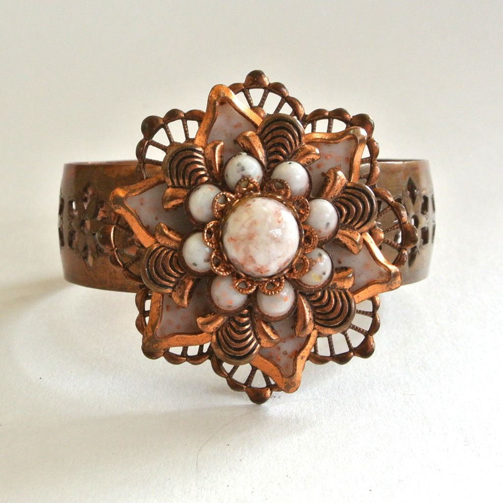 Brass and Glass Floral Cuff Bracelet