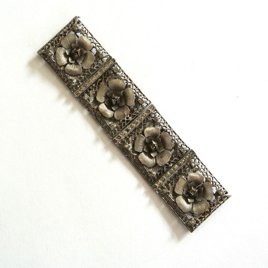 Art Deco Silver Metal Filigree Floral Belt Buckle