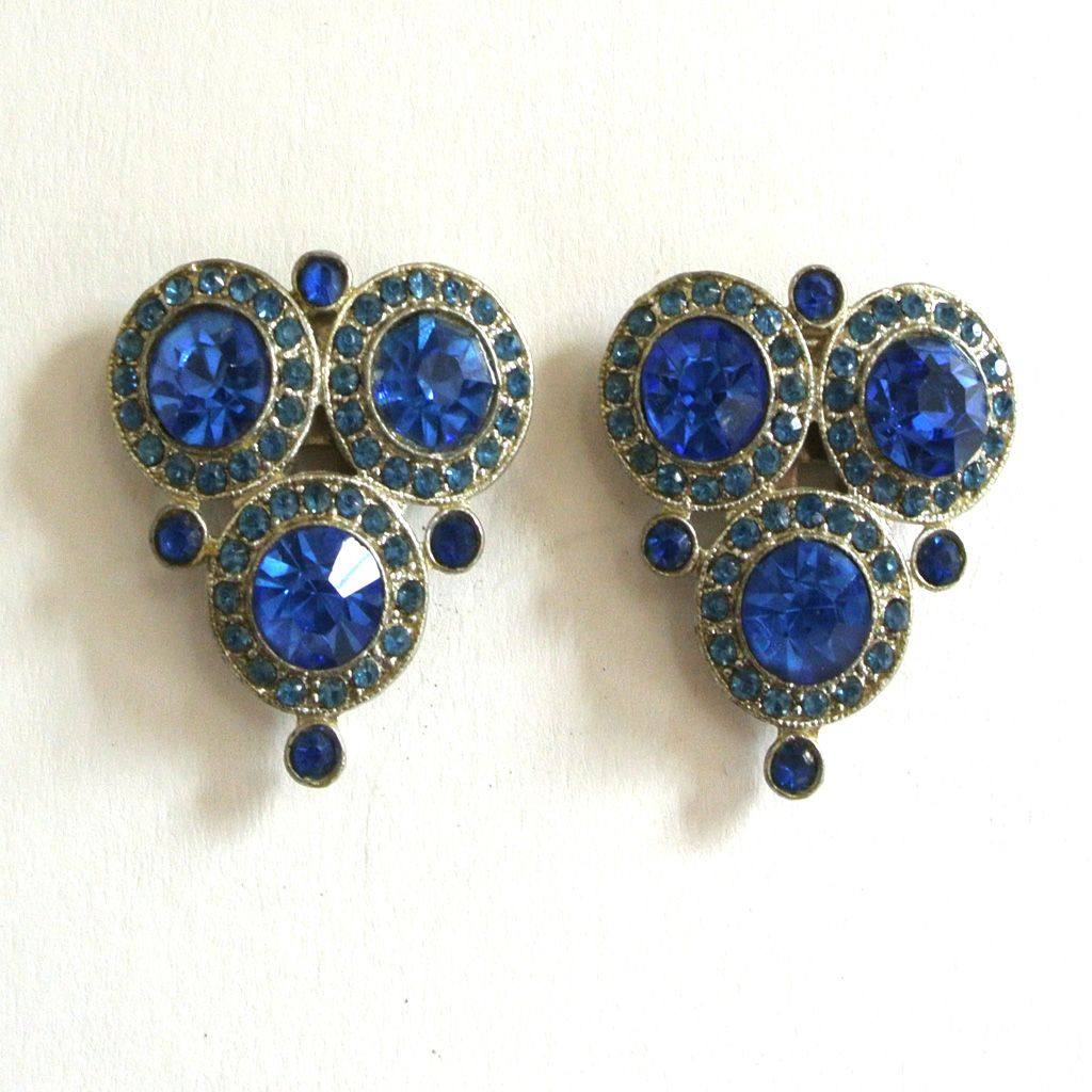 Cobalt Blue Circular/Triangular Decorative Dress Clips