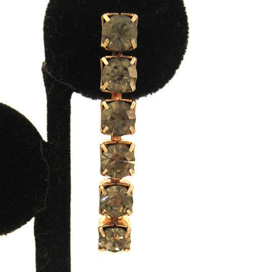 Silver-Tone Smoke-Colored Rhinestone Line Earrings