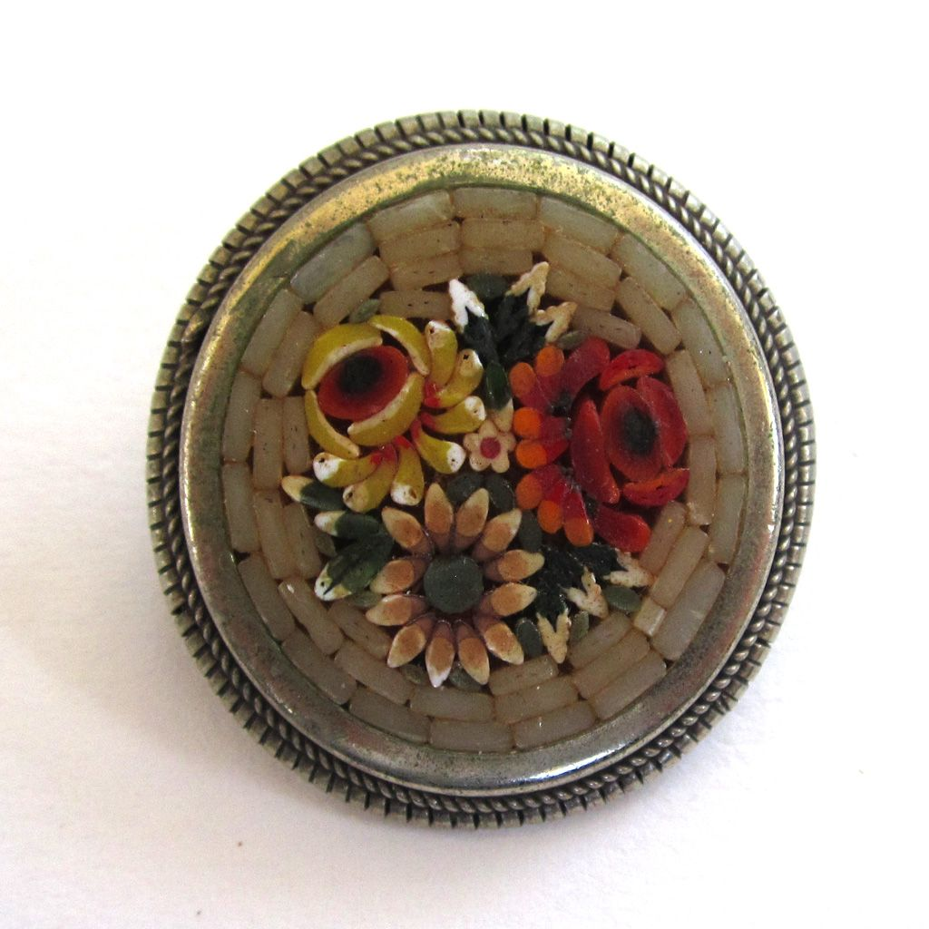 Micro-mosaic Floral Brooch/Pin