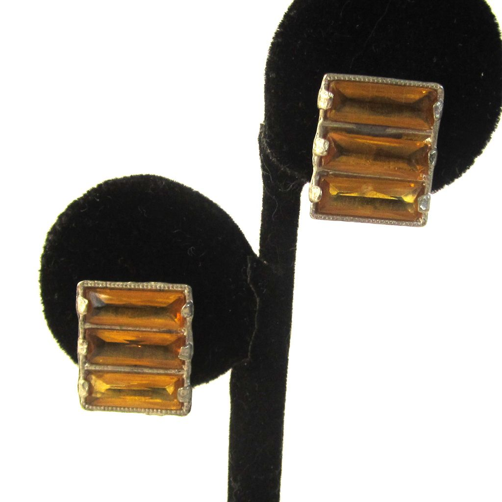 Art Deco Sterling Yellow Glass Earrings